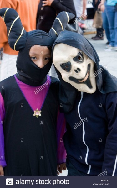 Oaxaca, Mexico  Day Of The Dead  Celebrations Two Children In