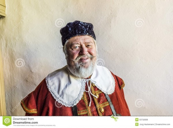 Old Man Dressed In Medieval Clothes In Rothenburg Editorial Stock