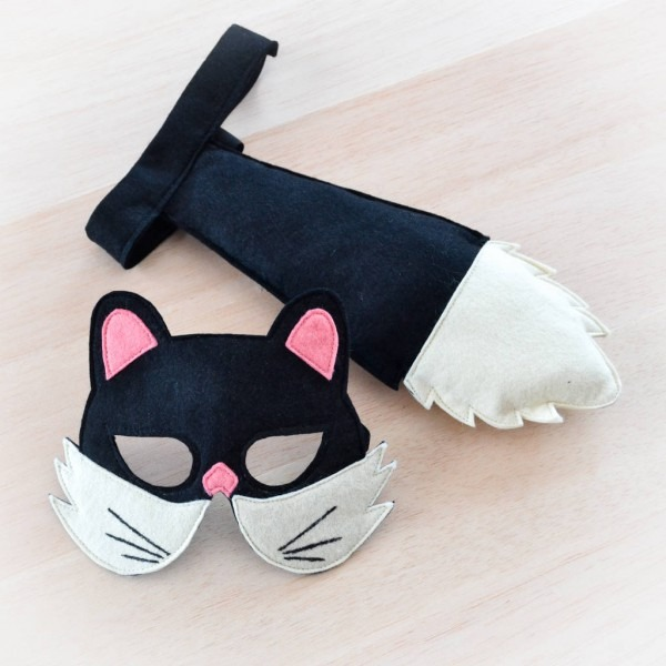 Black Cat Mask And Tail Children's Costume By Bhb Kidstyle