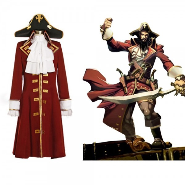 Pirate Captain Scarlet Trench Costume Suit Adult Men's Pirate