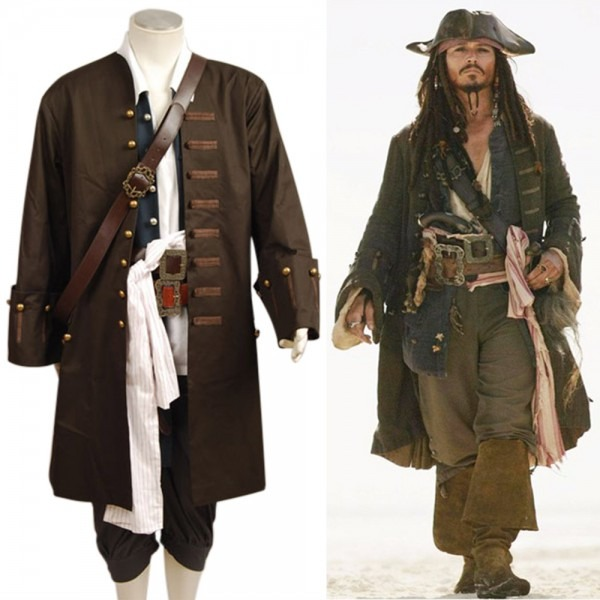 Pirates Of The Caribbean Jack Sparrow Cosplay Costume Jacket Vest
