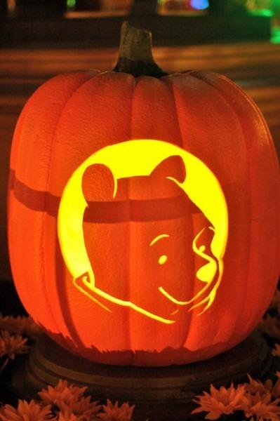 Pooh Bear Pumpkin Stencil
