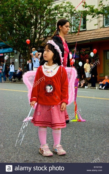 Pretty Young Oriental Girl In Pink Angel Costume At Point Grey