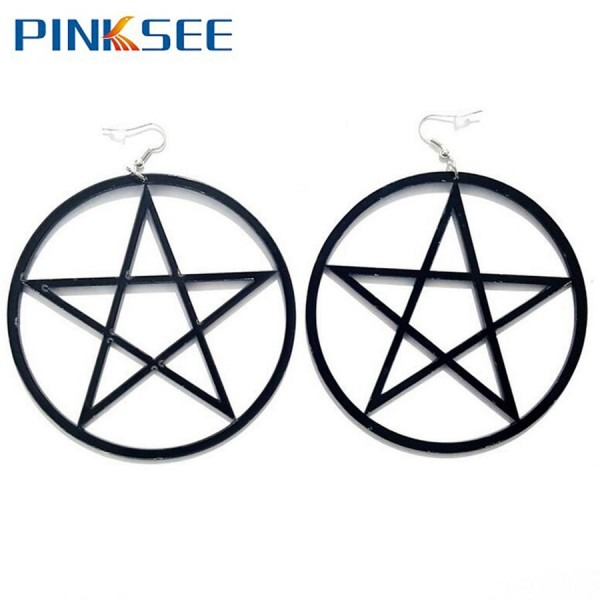Punk Rock Large Star Earrings Gothic Women Big Pentagram Unique