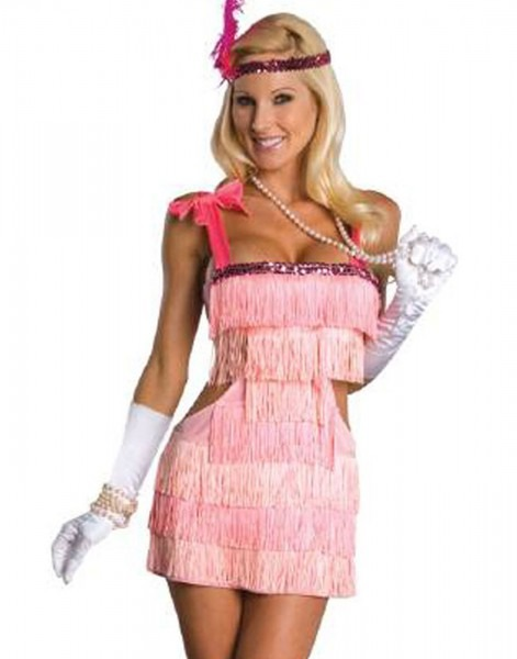 Sexy Pink 20's Fashion Flapper Showgirl Womens Halloween Adult