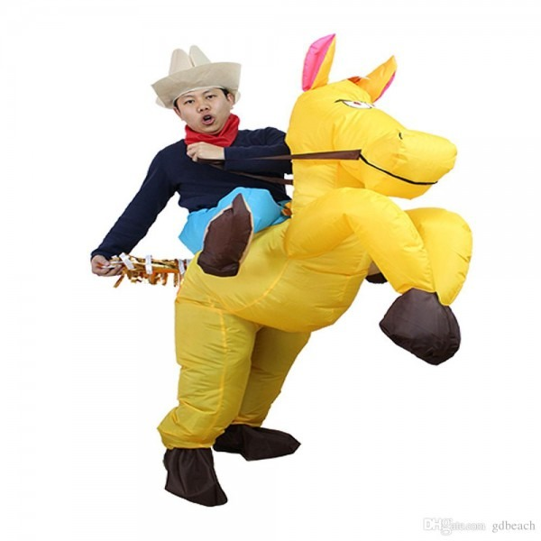 Inflatable Western Cowboy Ride Me On Horse Costume Adult Funny