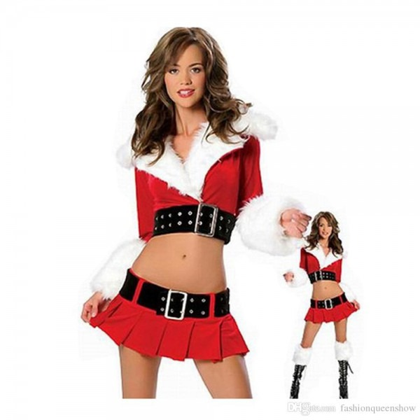 Women Red Fancy Dress Miss Santa Claus Christmas Costumes Sexy