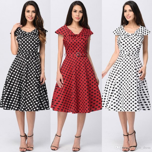 Elegant Women Cap Sleeve Polka Dot Vintage 50s Dress Bow Neck