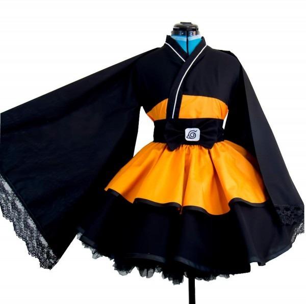 Naruto Shippuden Uzumaki Naruto Female Lolita Kimono Dress Anime