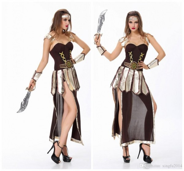 Brave Roman Gladiator Costume Set Medieval Knight Halloween Women
