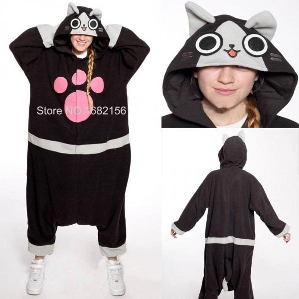 Kigurumi Adult Anime Cosplay Costume Black Ellione Cat Onesie