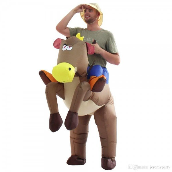 Adults Child Inflatable Horse Rider Halloween Costumes Blow Up