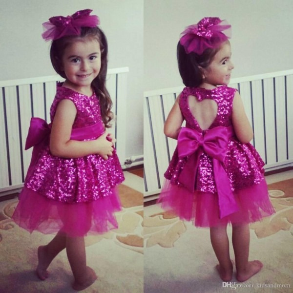 2019 Sequins Heart Baby Kids Girls Dress With Big Bow Princess