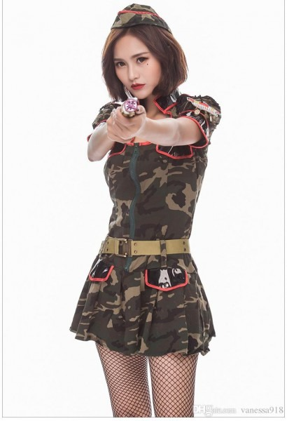 Sexy Adult Women Army Green Cosplay Costumes Super Military