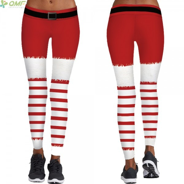 Red And White Stripes Cosplay Leggings Christmas Fashion Pencil