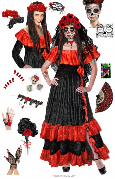 Red Dia Los Muertos Day Of The Plus Size 5x Halloweenes For