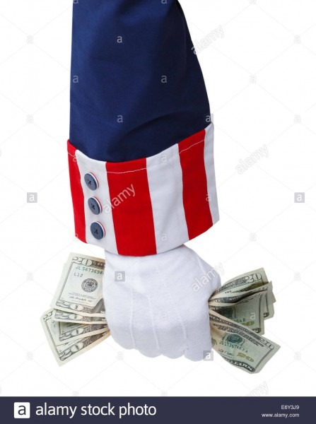 Red White And Blue Uncle Sam Suit With Hand Grabbing Cash Stock