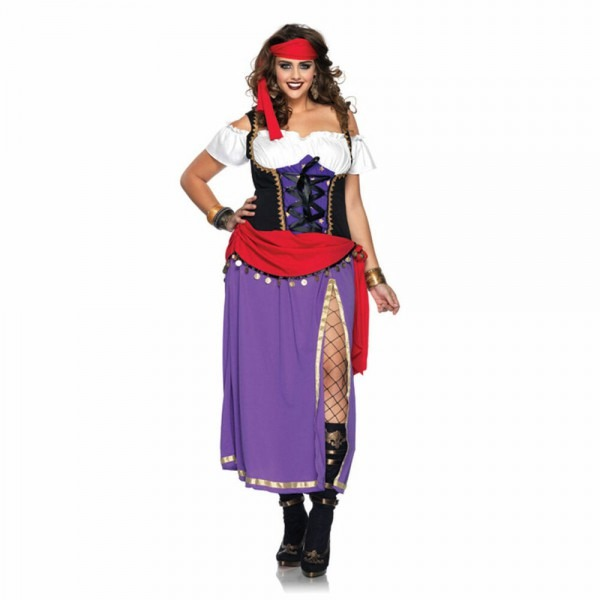 Womens Traveling Gypsy Plus Size Costume Renaissance Pirate