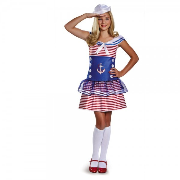 Girls Sailor Costume High Seas Captain Red White Blue Fancy Dress