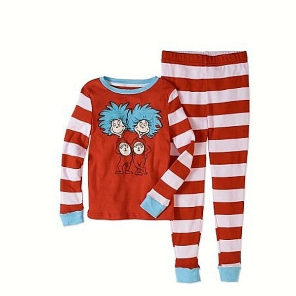 Dr  Seuss Girls'thing 1 And Thing 2 Tight Fit Pajama 2