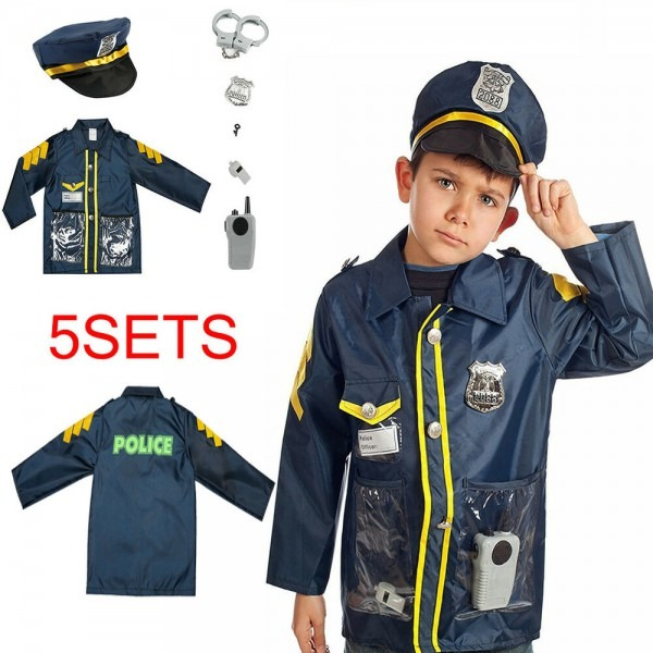 Kids Police Pretend Play Kit Policeman Role Set Dress Up Toy
