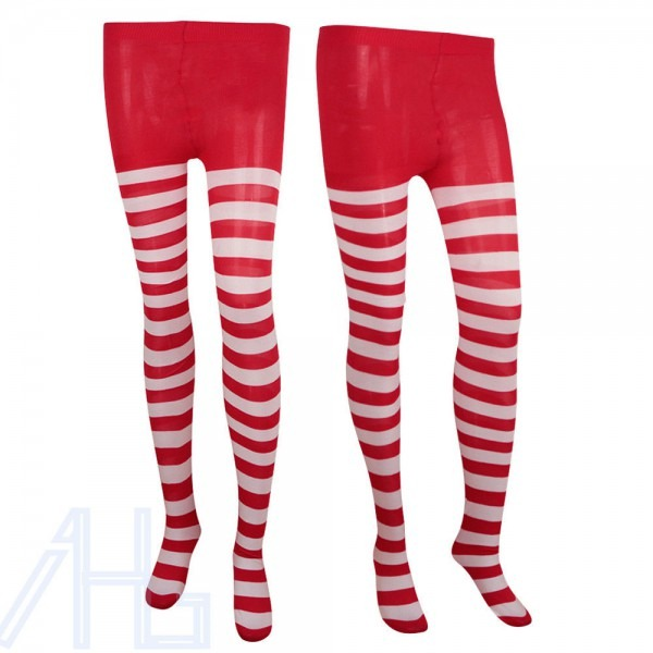 Ladies Red And White Striped Christmas Tights Xmas Elf Fancy Dress
