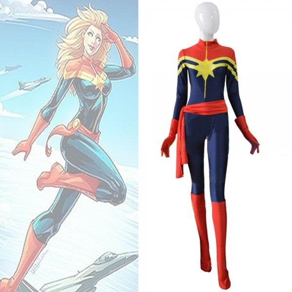 Captain Marvel Cosplay Anime Superhero Costume Zentai Jumpsuit