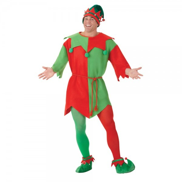 Adult Men's Christmas Magical Elf Tunic Red Green Fancy Dress