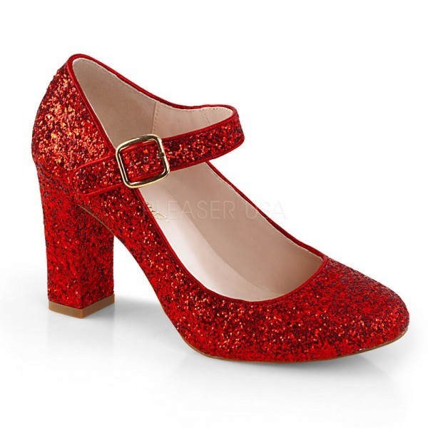 4  Red Glitter Mary Janes Dorothy Ruby Slippers Costume Shoes
