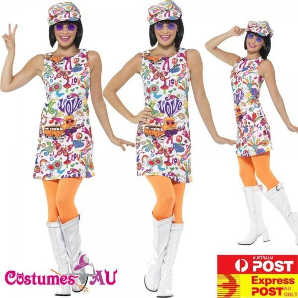 Ladies 60s Groovy Chick Costume Disco 70s Retro Hippie Go Go Dance
