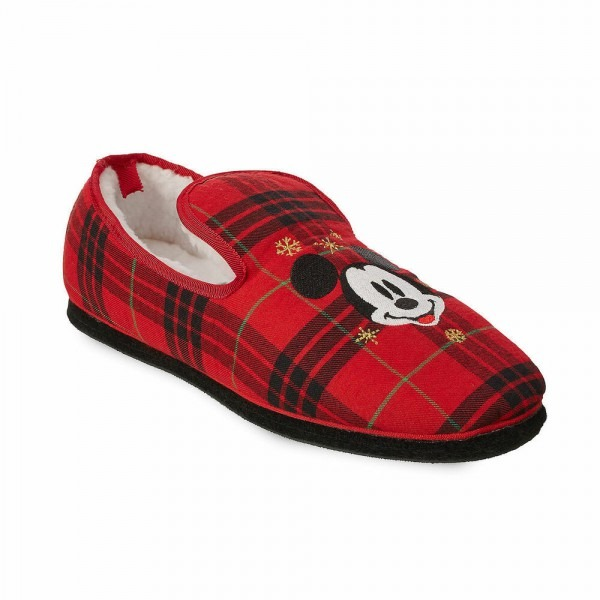 Disney Authentic Mickey Mouse Plaid Holiday Soft Slippers Shoes