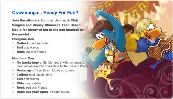 Club Penguin Updated Homepage  Website – Teen Beach Movie Summer