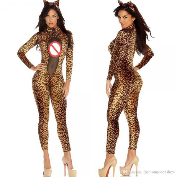 Sexy Women Mesh Catsuit Leopard Bodycon Slim Jumpsuit Catwoman