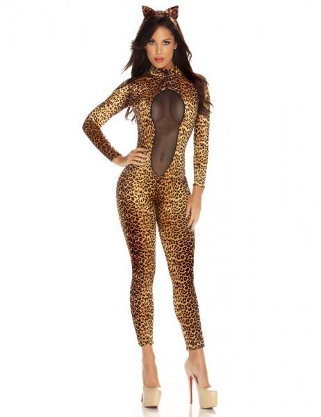 Sexy Women Mesh Leopard Print Catsuit Bodysuit Bodycon Jumpsuit