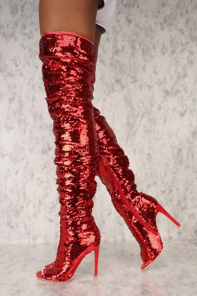 Sexy Red Sequin Peep Toe Thigh High Heels Boots