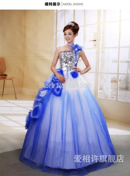Silver Sequins Bead Royal Blue Medieval Dress Renaissance Gown