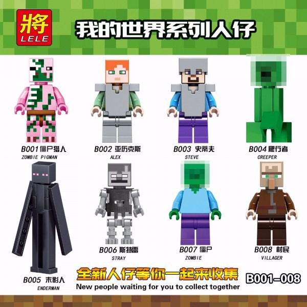 Single Sale Legoing Minecraft Figures Zombie Pigman Alex Steve