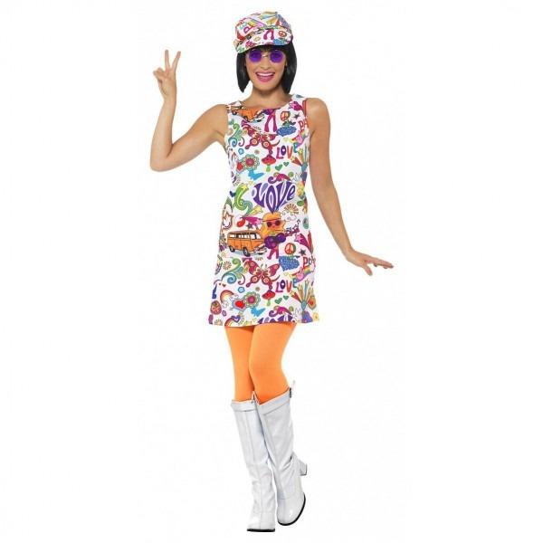 60's Groovy Chick Halloween Costume Womens White Hippie Fancy