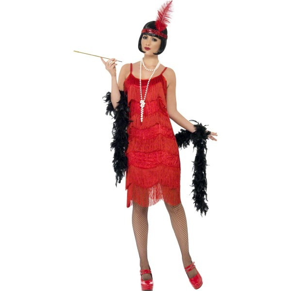 Womens New Sexy Red Flapper Shimmy Vintage 20s Style Fancy Dress