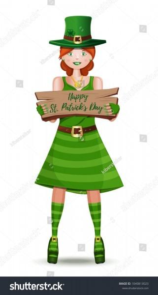 Leprechaun Girl Congratulates On St Patricks Stock Vector (royalty