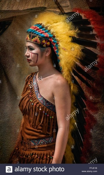 Thai Girl In Traditional Native American Indian Costume At The