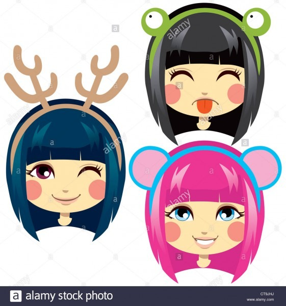 Three Sweet Girl Heads Wearing Cute Animal Costume Headbands For