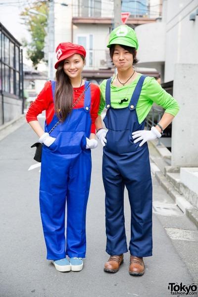 Cute Mario Bros Costumes On The Street In Harajuku