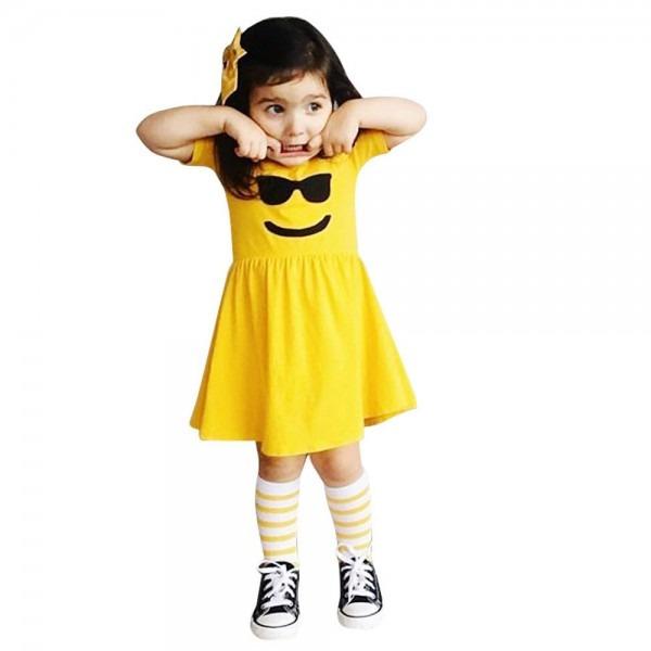 Toddler Infant Kids Baby Girls Dress Emoji Emoticon Smiley Sun