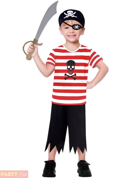 Childs Toddlers Pirate Costume Boys Captain Hook Buccaneer Fancy