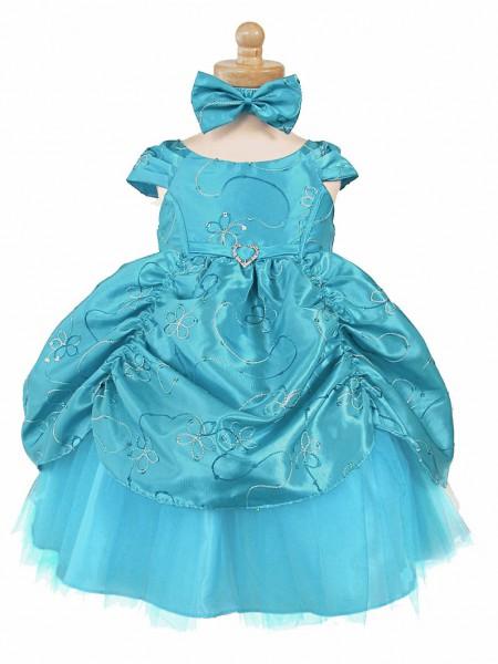 Turquoise Taffeta Embroidered Cinderella Baby Dress