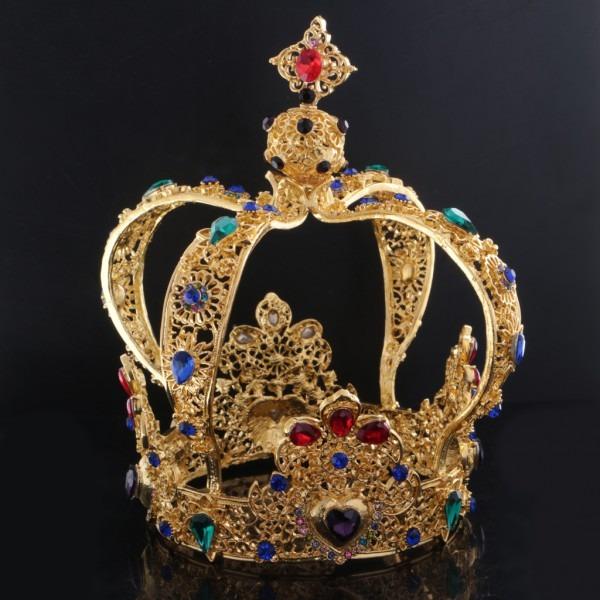 Vintage Baroque Queens Gold Crown Tiara Wedding Headpiece Carnival