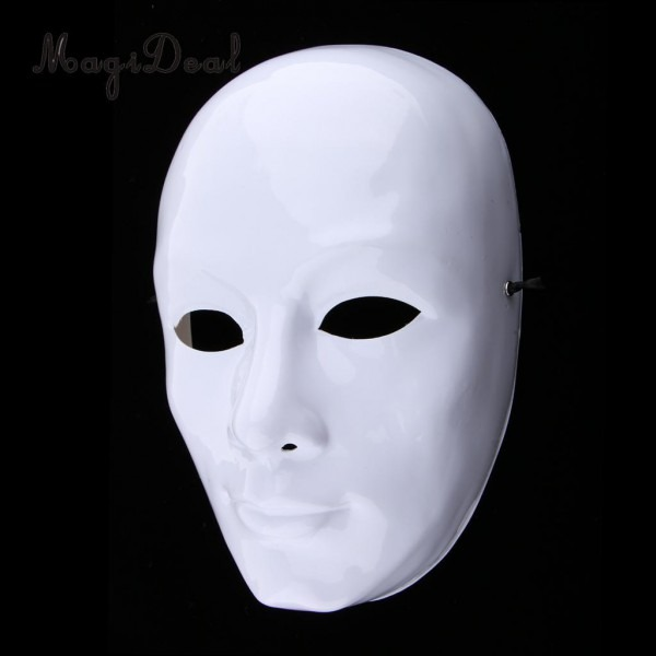 White Face Adult Mask Blank Male Mask Halloween Costume Unpainted