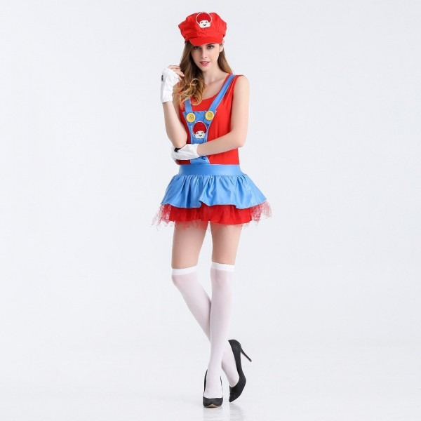 Women's Anime Cosplay Adult Super Mario Costume Ladies Sexy Super