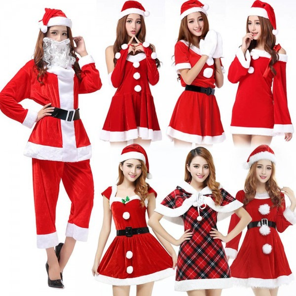 Women's Christmas Costumes Adult Red Santa Claus Outfit Big Sale